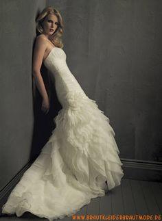Preiswertes weißes Brautkleid aus Organza mit Applikation