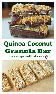 Quinoa Coconut Granola Bar Recipe. Our kids already love granola bars, but once you add quinoa, your kids also get fiber and protein! www.superhealthykids.com/quinoa-coconut-granola-bars