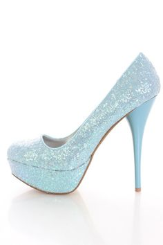 Glitter High Heels - Blue and White Pumps -Aqua Turquoise Ombre