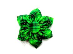 Flower badge reel green plaid badge reel St. by GraySunGifts