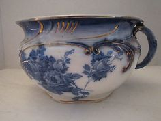 Antique Doulton Burslem England Gloire de Dijon Pot  Flow  Blue  Roses