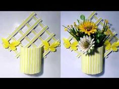 Wall Hanging Flower Vase Showpiece Making Out of Origami P. Paper Flowers Craft, Paper Crafts Origami, Flower Crafts, Diy Flower, Popsicle Stick Crafts, Craft Stick Crafts, Diy And Crafts, Dragon Origami, Fox Crafts