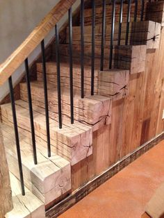 Reclaimed barn beam stairs – Interior and architecture - Diy Furniture Farmhouse Stairs, Rustic Stairs, Wood Stairs, Basement Stairs, Stair Railing, Rebar Railing, Porch Stairs, Railing Ideas, Railings