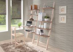Art Deco Wide Wooden Ladder Shelf In White Finish With Small Computer Desk Attched On Gray Room Wall Paper, Stunning Ladder Shelf Computer Desk Design: Furniture
