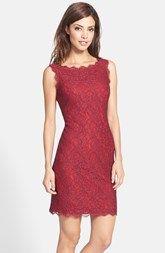 good dress for a fall wedding. Adrianna Papell Boatneck Lace Sheath Dress (Regular & Petite)