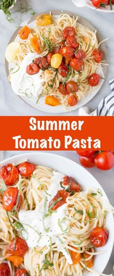 This quick and easy Summer Tomato Basil Pasta is the answer to all the busy summer days ahead. Make this summer pasta for a satisfying and delicious meal in under 25 minutes. #tomatobasilpasta #summerpasta #quickpasta Creamy Pasta Recipes, Yummy Pasta Recipes, Vegan Recipes Easy, New Recipes, Dinner Recipes, Dinner Ideas, Meatless Recipes, Noodle Recipes, Popular Recipes
