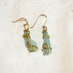 Aqua Ancient Glass Earrings, Wrapped in Brass with Gold Filled Ear Wires. Ancient Glass Jewellery.