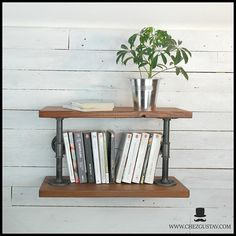 SERIE FIN - Industrial wall shelf in plumbing pipes and wooden shelves - Design Library Industrial Wall Shelves, Wooden Shelves, Wooden Shelf Design, Iron Pipe, Pipes, Plumbing, Cast Iron, Interior, Home Decor