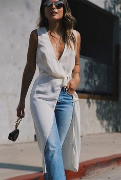 Image result for white jeans dinner outfit street style