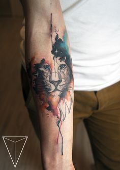 WATERCOLOR LION TATOO