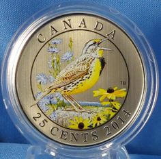 Canada 2014 Eastern Meadowlark – Colored Coin Birds of Canada Series Ontario Birds, Canadian Coins, Coins Worth Money, Coin Worth, Commemorative Coins, Banknote, Dollar Coin, Money Matters, Coin Collecting