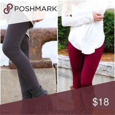 🍂Regular size Tummy control leggings Burgundy!! Best Selling  High Waist-ed Tummy Control  Leggings.      Regular size  Solid- Fleece - Top Quality 80% Nylon 15% Spandex  Colors:  burgundy red black charcoal And Olive,   These are regular sized Pants Leggings