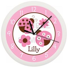 Pink Ladybug Clock