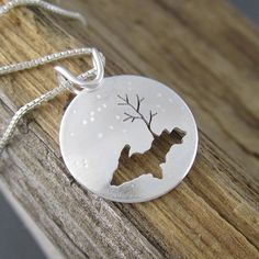 Snow Country Upper Peninsula of Michigan Sterling Silver Pendant