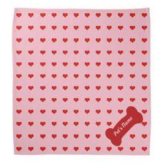 Hearts Abound Bandana with Pet Name Template - Saint Valentine's Day gift idea couple love girlfriend boyfriend design