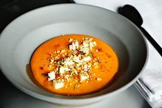 """Scott Crawford is a James Beard semifinalist for """"Best Chef in the Southeast"""". His restaurant, Crawford and Son, was the """"Triangle Restaurant of the Year"""" in This hearty fall Kabocha squash soup features miso, apples, coriander and Hubs Peanuts. Triangle Restaurant, Kabocha Squash Soup, Virginia Peanuts, James Beard, Best Chef, Coriander, Thai Red Curry, Apples, Fall"""