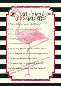 Printable bachelorette game/ bachelorette quiz game / flamingo bachelorette game / bride quiz / how well do you know the bride by PrettyPrintablesInk on Etsy