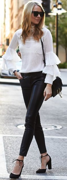 #fall #street #trends   Ruffles + Leather + Black And White