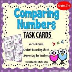 Comparing Numbers Task Cards **FREE**