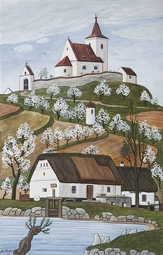 Czech ~ Josef Lada ~ House on a Hill, art naif Ex Yougoslavie, Henri Rousseau, Art Brut, Naive Art, Outsider Art, Kitsch, Home Art, Illustrators, Modern Art
