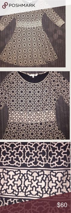 ✨Stunning Printed Dress by Max Studio✨ Contrasting brown and cream dress with three fourth  sleeve, Side zipper. This dress is labeled large however it fits like a medium very little give. 38 inches flat. JUST ADD BOOTS AND TIGHTS to be FALL/WINTER READY Dresses Midi