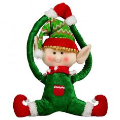 "16"" Holiday Elf Door Hanger: Green"