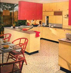 1950s red and yellow kitchen. The house I grew up in had that exact same floor in the kitchen. Click the image to learn how to give your kitchen a mid century makeover! #retrokitchen http://www.retrorealtygroup.com