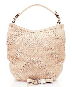 Claudia Hobo in Champagne Rose Gold Woven ...