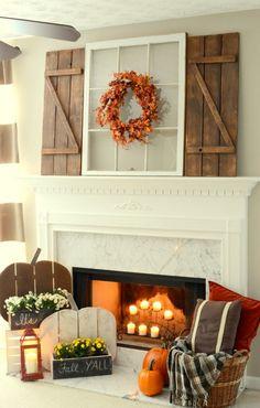 DIY Wood Pumpkins and Barn Wood Shutter Mantel - 14 Cozy Fall Fireplace Decor Id. - DIY Wood Pumpkins and Barn Wood Shutter Mantel – 14 Cozy Fall Fireplace Decor Ideas to Steal Right -