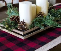 No Sew Buffalo Plaid Table Runner - Make this yourself in no time with these easy directions and pictures. So simple anyone can do it!