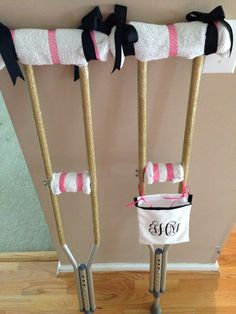 DIY Crutches.... Love love love the way they turned out! The monogrammed bag is for carrying around my phone/ wallet/ food/ whatever I need but can't use my hands for!