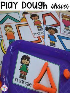 Shape play dough mats! Plus 2D Shapes activities for preschool, pre-k, and kindergarten. Shape mats (legos, geoboards, etc), posters, sorting mats, worksheets, & MORE.