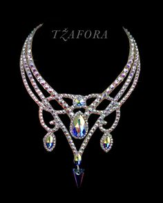 """For all we know"" - Swarovski ballroom necklace. Ballroom dance jewelry, ballroom dance dancesport accessories. www.tzafora.com Copyright © 2016 Tzafora."
