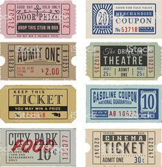 movie ticket Vintage Tickets and Coupons royalty-free vintage tickets and coupons stock vector art amp; more images of admit one Ticket Cinema, Theater Tickets, Movie Tickets, Printable Stickers, Cute Stickers, Journal Vintage, Papel Vintage, Handwritten Text, Etiquette Vintage