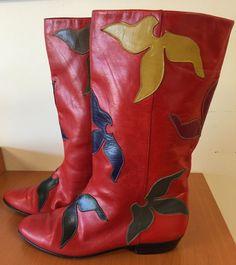 Andrea Carrano Womens 37A (6) Red Boots Multi-Color Stitch Patchwork Vero Cuoio #AndreaCarrano #CowboyWestern