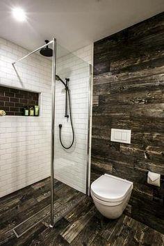 Sleek bathroom design, small toilet, non-traditional style toilet, glass shower… Best Bathroom Tiles, Small Bathroom, Wood Bathroom, Tile Bathrooms, Basement Bathroom, White Bathroom, Master Bathroom, Bad Inspiration, Bathroom Inspiration