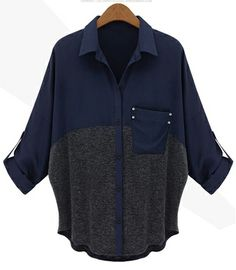 Navy Contrast Grey Lapel Pocket Loose Blouse US$39.60