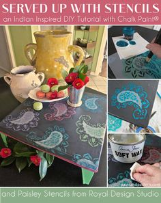 Stenciling a wooden/metal stool or tray DIY | Small Paisley Furniture Stencil | Royal Design Studio