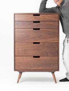 Small Dresser, Dresser Sets, Chest Drawers, Narrow Dresser, Small Drawers, Mid Century Modern Dresser, Mid Century Modern Furniture, Scandinavian Chest Of Drawers, Walnut Furniture