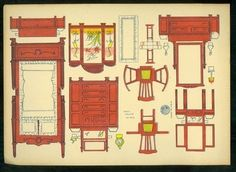 Uncut Universal Toy Paper Doll House Furniture Bedroom Asian Theme ScreenA 7 x 10 uncut toy doll house furniture sheet produced by Universal Toys Novelty Mfg. This sheet is the bedroom a. Kids Doll House, Paper Doll House, Paper Houses, Paper Furniture, Doll Furniture, Dollhouse Furniture, Paper Toys, Paper Crafts, Diy Paper