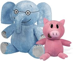 "Mo Willems Collection | Pair of Elephant & Piggie Soft Stuffed Animal Plush Toys – 7"" & 5"" Sitting — Big Blue Marble Bookstore Knuffle Bunny, Mo Willems, T Baby, Good Buddy, Toy Craft, Book Characters, Baby Toys, Baby Animals, Dinosaur Stuffed Animal"