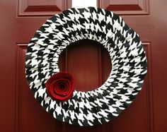 Very Interesting look, unique. 185 inch Alabama Houndstooth Ruffle #Wreath by Bopsidoodle on Etsy, $50.00