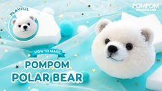 How to Make a Pompom Polar Bear - ポンポンの作り方 Pom Pom Tutorial, Diy Tutorial, Polar Bear, Teddy Bear, Mickey Mouse Shorts, Childrens Bedroom Decor, Surprise Baby, How To Make A Pom Pom, Pom Pom Crafts