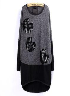 Stylish stitching bat sleeve loose long-sleeved t-shirt