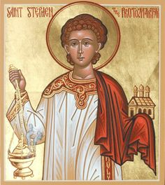 """theraccolta: """" This icon depicts Saint Stephen the first martyr and one of the first seven Deacons of the Church. By the hand of Deacon Matthew Garrett """" Saint Stephanie, Matthew Garrett, Altar, Religious Images, Religious Art, Byzantine Art, Jesus On The Cross, Lutheran, Orthodox Icons"""