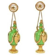 Check out this item at One Kings Lane! 1980s Chanel Rare Green Bottle Earrings
