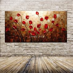 Style Your Home Today With This Amazing 1 Panel Abstract Red Flower Unframed Wall Art Canvas For $243.00  Discover more canvas selection here http://www.octotreasures.com  If you want to create a customized canvas by printing your own pictures or photos, please contact us.