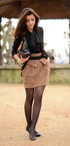 skirt, shirt, tie, purse, polka dot tights, black, tan, fashion