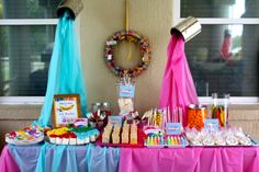 Art party - food table-@Tauna Lane-Wigfield (The Vintage Goods Co)..how cute are the paint buckets?!