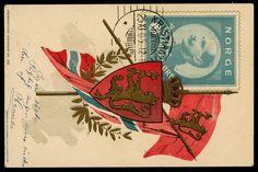 PATRIOT HAAKON VII. Med flagg og riksvåpen. Kolorert. Stemplet 1912. Utg Kristian Petersen/ Küenholdt